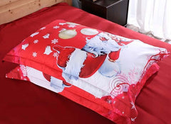 3D Santa and Christmas Decorations Printed Luxury 4-Piece Red Bedding Sets/Duvet Covers