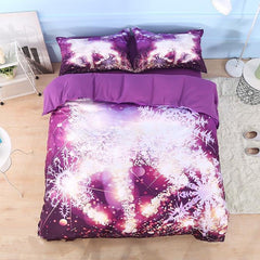 3D Golden Reindeer and Snowflake Printed Cotton Luxury 4-Piece Bedding Sets/Duvet Covers
