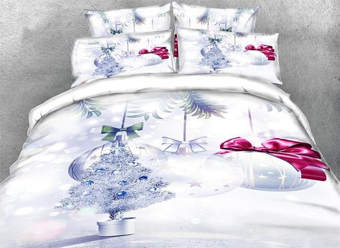 3D Silvery Christmas Tree and Ornaments Printed Luxury 4-Piece Bedding Sets/Duvet Covers