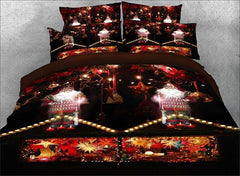 3D Santa Claus and Christmas Candle Printed Luxury 4-Piece Bedding Sets/Duvet Covers