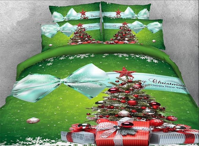 3D Christmas Tree and Bowknot Printed Luxury 4-Piece Green Bedding Sets/Duvet Covers
