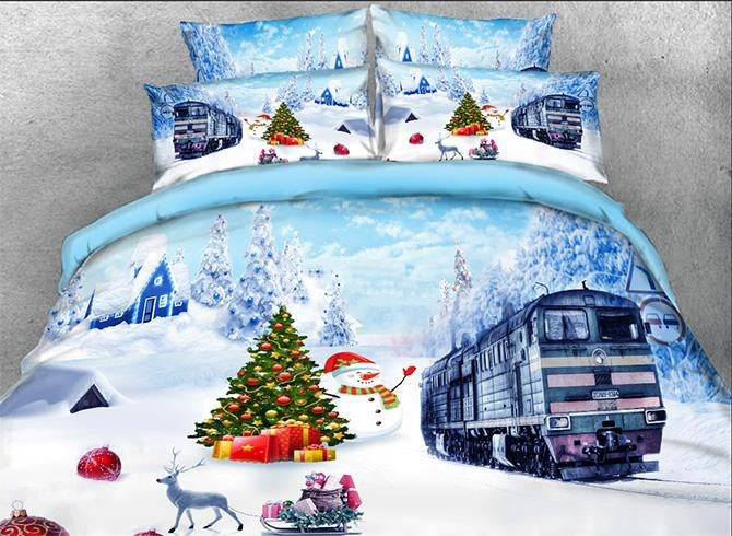 3D Christmas Snowman and Train Printed Cotton Luxury 4-Piece Bedding Sets/Duvet Covers