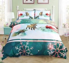 3D Christmas Ornaments and Snowflake Printed Luxury 4-Piece Green Bedding Sets/Duvet Covers