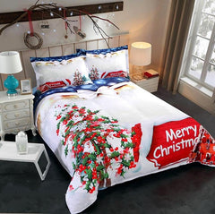 3D Christmas Tree and Cottage Printed Cotton Luxury 4-Piece Bedding Sets/Duvet Covers