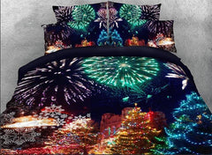 3D Christmas Trees and Fireworks Printed Cotton Luxury 4-Piece Bedding Sets/Duvet Covers