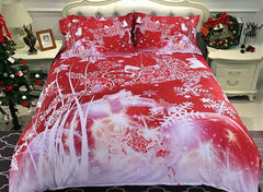 3D Christmas Reindeer and Snowflake Printed Cotton Luxury 4-Piece Red Bedding Sets