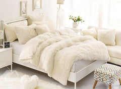 Solid Creamy White Soft Luxury 4-Piece Fluffy Bedding Sets/Duvet Cover