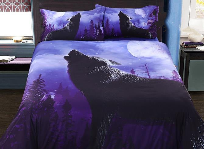 3D Howling Wolf Printed Cotton Luxury 4-Piece Bedding Sets/Duvet Covers