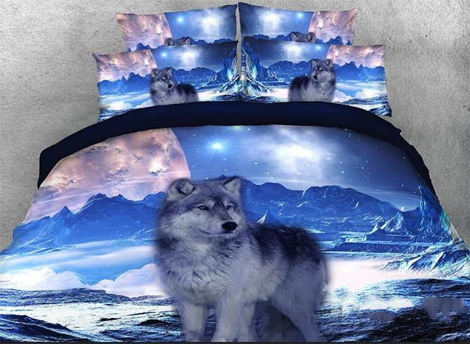 3D Mountain Wolf Printed Cotton Luxury 4-Piece Bedding Sets/Duvet Covers