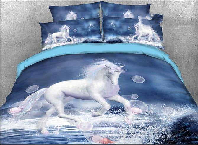 3D White Unicorn and Bubbles Printed Cotton Luxury 4-Piece Bedding Sets/Duvet Covers
