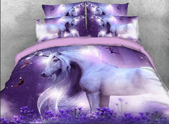3D Unicorn and Fairies Printed Cotton Luxury 4-Piece Purple Bedding Sets/Duvet Covers