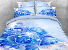 3D Blue Roses and Bubbles Printed Cotton Luxury 4-Piece Bedding Sets/Duvet Covers