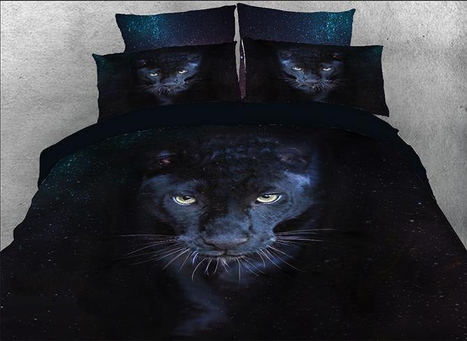 3D Wild Panther Printed Cotton Luxury 4-Piece Black Bedding Sets/Duvet Covers
