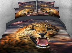 3D Wild Leopard with Sharp Teeth Printed Luxury 4-Piece Bedding Sets/Duvet Covers