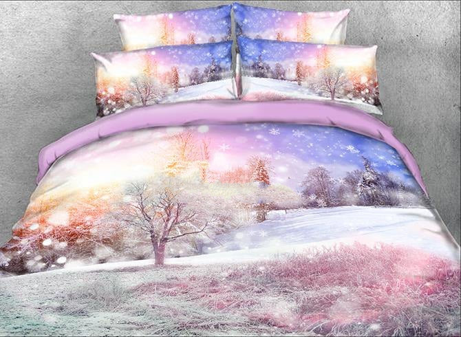 3D Winter Forest Printed Cotton Luxury 4-Piece Bedding Sets/Duvet Covers