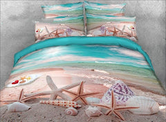 3D Starfish and Shells on the Beach Printed Cotton Luxury 4-Piece Bedding Sets