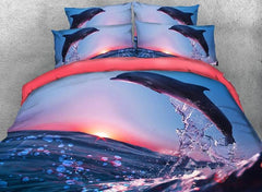 Dolphin Jumping at Sunset Printed Cotton Luxury 4-Piece Bedding Sets/Duvet Covers