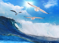 3D Rolling Ocean Waves and Seagulls Printed Luxury 4-Piece Bedding Sets/Duvet Covers