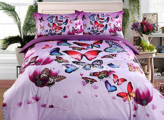 3D Colorful Butterflies and Purple Flower Printed Luxury 4-Piece Bedding Sets/Duvet Covers