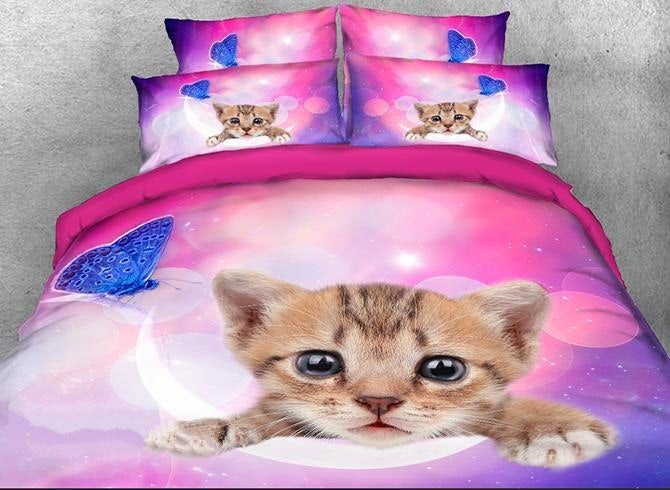 3D Kitten Face and Blue Butterfly Printed Luxury 4-Piece Bedding Sets/Duvet Covers