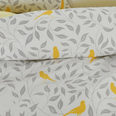 Designer Brocade Gray Leaves and Yellow Birds Pattern Luxury 4-Piece Cotton Bedding Sets