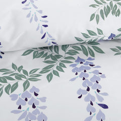 Designer Brocade Green Leaves Strings and Purple Flowers Luxury 4-Piece Cotton Bedding Sets