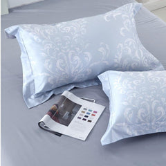 Designer Brocade White Plants Pattern Luxury 4-Piece Cotton Bedding Sets/Duvet Cover