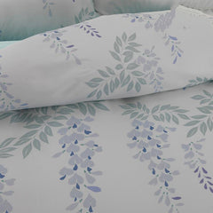 Designer Brocade Leaves Strings Purple Flowers Shallow Color Luxury 4-Piece Cotton Bedding Sets