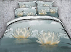 3D White Lotus and Dragonfly Printed Cotton Luxury 4-Piece Bedding Sets/Duvet Covers