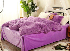 Full Size Solid Purple Super Soft Plush Luxury 4-Piece Fluffy Bedding Sets/Duvet Cover