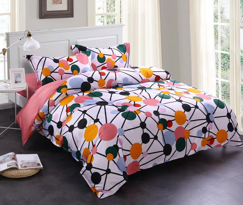 Brocade Watermelon Red Spotted Flashbulb Printed Luxury 4-Piece Cotton Bedding Sets