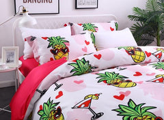 Brocade Sweet Pineapples Seaside Party Casual Style Luxury 4-Piece Cotton Bedding Sets