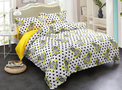 Brocade Pineapples Yellow Triangles and Black Spot Luxury 4-Piece Cotton Bedding Sets