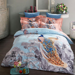 Peacocks and Tigers with Flowers Blooming Pattern Cotton Luxury 4-Piece Bedding Sets/Duvet Cover