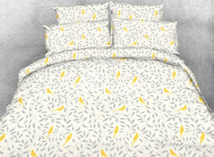 Designer Gray Leaves and Yellow Birds Printed Polyester Luxury 4-Piece Bedding Sets/Duvet Cover
