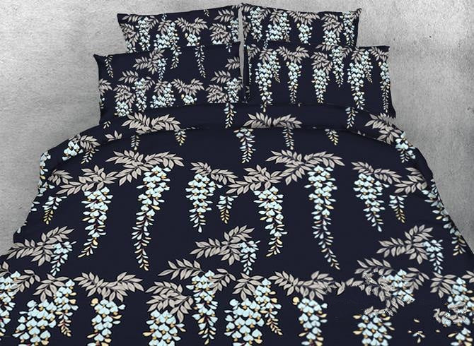Designer Dreamy Strings of Leaves Printed Polyester Luxury 4-Piece Bedding Sets/Duvet Cover