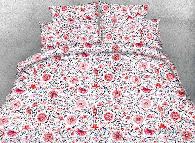 Designer Orange Flowers Blossom Printed Pastoral Style Polyester Luxury 4-Piece Bedding Sets/Duvet Cover