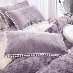 Solid Purple with Decorative Fuzzy Ball Faux Rabbit Fur Fluffy Luxury 4-Piece Fluffy Bedding Sets