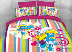 Dreamy Smurfette Singer and Colorful Stripes Luxury 4-Piece Bedding Sets/Duvet Covers