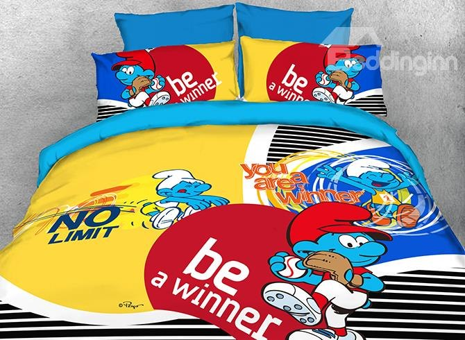 Smurf Sports Activity Luxury 4-Piece Bedding Sets/Duvet Covers