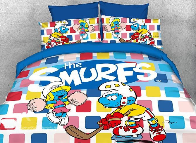 Hockey Smurf and Dancing Smurfette Luxury 4-Piece Bedding Sets/Duvet Covers