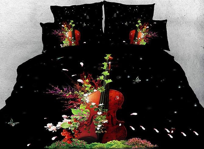 3D Violin and Pink Magnolia Printed Luxury 4-Piece Bedding Sets/Duvet Covers