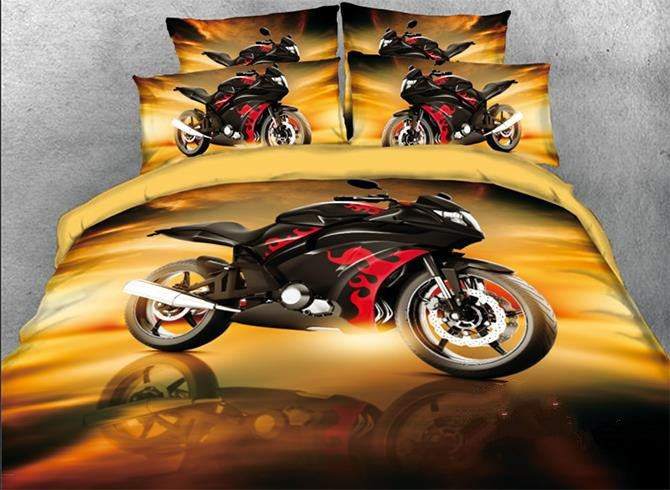 3D Cool Red Sports Motorcycle Printed Luxury 4-Piece Bedding Sets/Duvet Covers