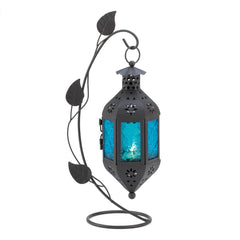 Sapphire Bloom Standing Candle Lantern