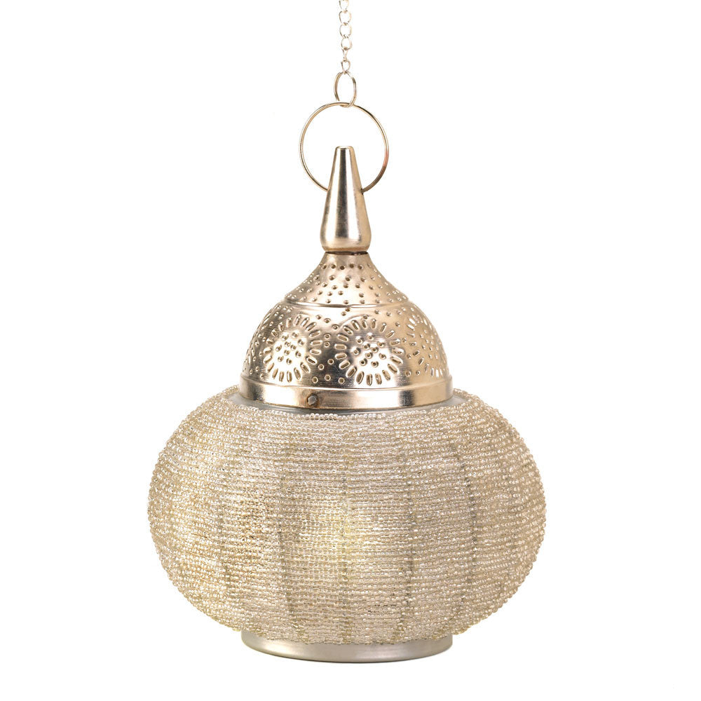 Silver Beaded Candle Lantern