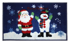Christmas Kitchen Rug, Latex Back, Santa/Snowman Design