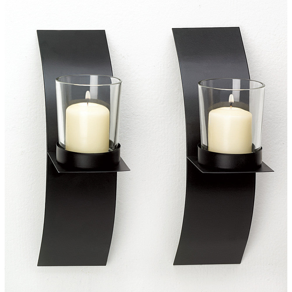 Modern Art Candle Sconce Duo