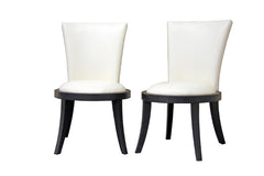 Baxton Studio Neptune Off-White Leather Dining Chair in Set of 2