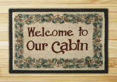 Welcome To Our Cabin Wicker Weave Rug
