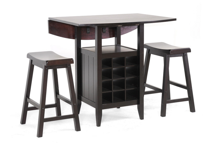 Baxton Studio Reynolds 3-Piece Drop-Leaf Pub Set with Wine Rack